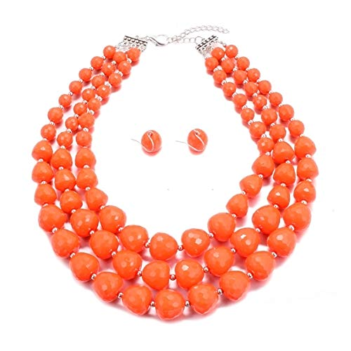 MJULY Women 3 Layers Bib Jewelry Acrylic Beads Statement Strand Chunky Necklace and Earring Set (Orange)