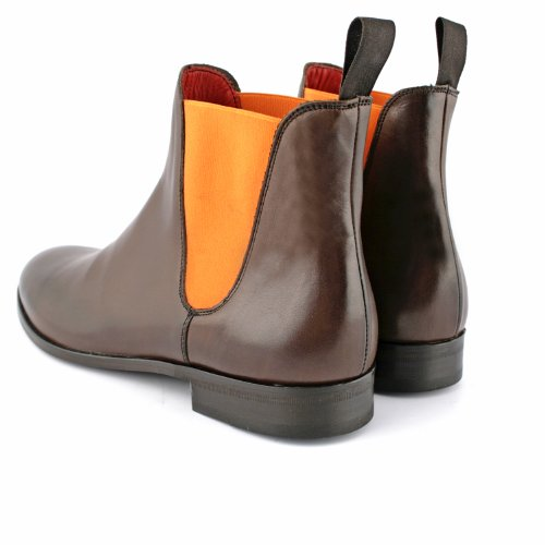 Exclusif Paris Mystere 39, Bottines Cuir marron / élastique orange Taille 39