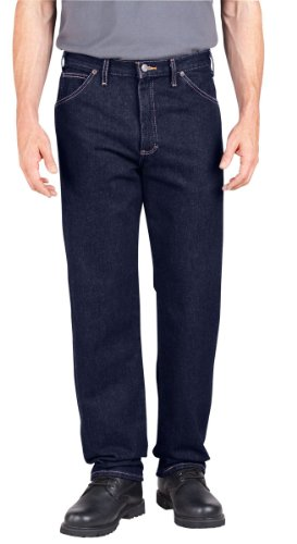 Dickies Men's Industrial Relaxed Fit Denim Jeans, Rinsed Indigo Blue, 34 x UL ()