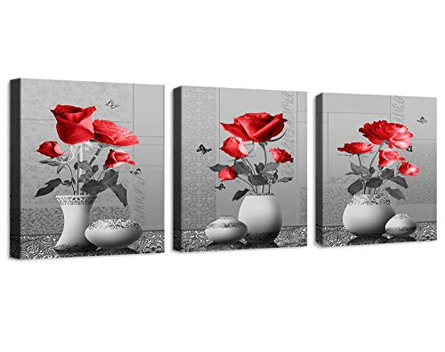 Framed Iii Canvas (Wall Decor for Bedroom Prints of Decor for Living Room Rose Flowers red Canvas Wall Art Decor 3 Pieces Framed Canvas Prints Watercolor Giclee with Black Border Ready to Hang for Home Decoration)