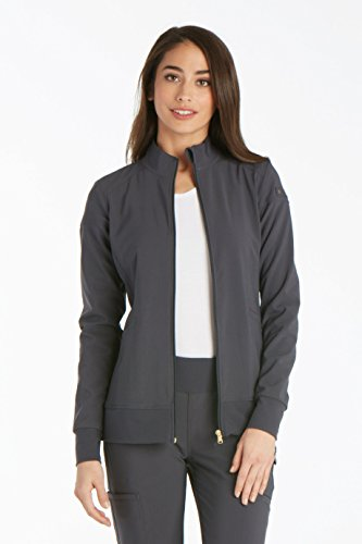 Iflex By Cherokee Women's Zip Front Warm-Up Solid Scrub Jacket X-Large Wine