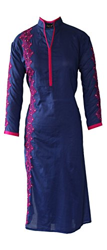 AzraJamil Beguiling Blue Cotton Embroidered Kurta (Navy Blue) – Small