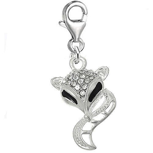 SEXY SPARKLES Fox Clip on for Bracelet Charm Pendant for European Charm Jewelry w/Lobster Clasp -