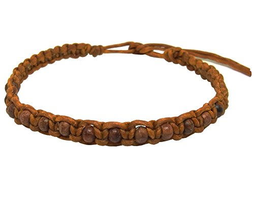 Thai Buddha Fashion Art Handmade Bracelet Orange Wax String Brown Wood Beads Wristband Thailand