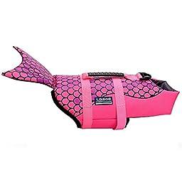 WOpet Dog Life Jacket Size Adjustable Dog Lifesaver Safety Vest (M, Pink)