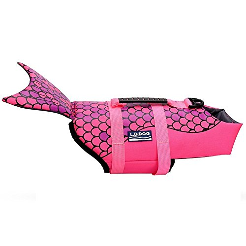 WOpet Dog Life Jacket Size Adjustable Dog Lifesaver Safety Vest (M, Pink)