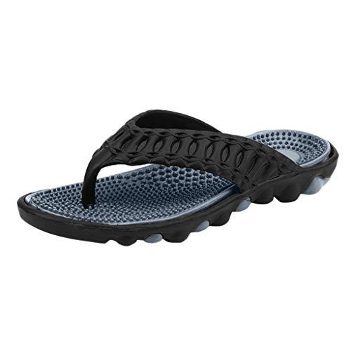 Xinantime Men's Beach Sandal Men's Foot Massage Flip-Flop Slipper Mens Thong Sandals Indoor and Outdoor Flip Flop Black ()
