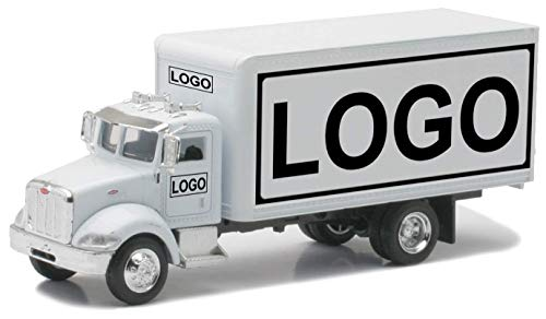 Shop72 Personalized Diecast Truck 1:43 Customzied Peterbilt White Box Truck with Logo or Name for Promotional Use