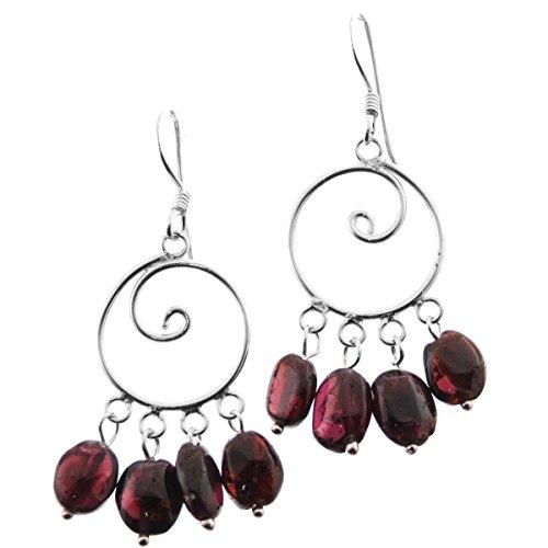 Garnet Hoop 925 Sterling Silver Chandelier Earrings, 1 1/4