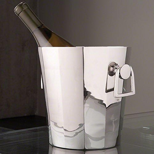 Silver Chrome Octagon Ice Bucket Metal   Wine Chiller Handles Round