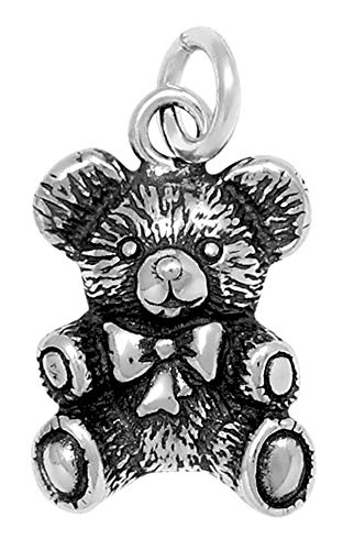 Raposa Elegance Sterling Silver Teddy Bear Charm (approximately 13 mm x 10.5 mm) (Sterling Teddy Pendant Bear Silver)