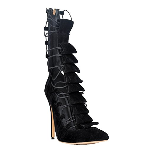 Kolnoo Womens Fashion Handmade 10cm Lace-up Band Hi-top High Heel Pointed Toe Pumps Shoes Black