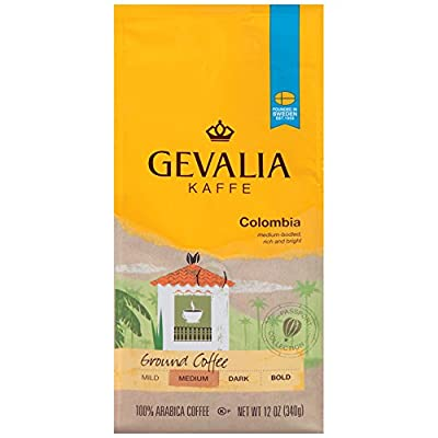GEVALIA Colombian Coffee, Medium Roast, Ground, 12 Ounce, (Pack of 6)