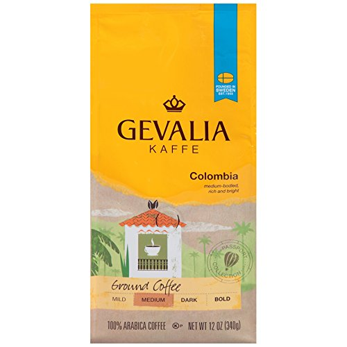 GEVALIA Colombian Coffee, Medium Roast, Ground, 12 Ounce, (Pack of 6) by Gevalia