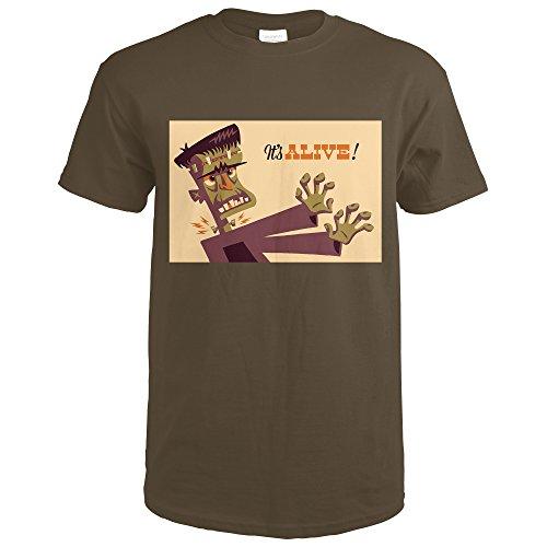 Dark Chocolate Halloween (Frankenstein - Retro Halloween (Dark Chocolate T-Shirt X-Large))