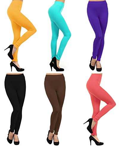 ICONOFLASH Women's Casual Fleece Lined Winter Weight Legging, (6-Pack, Date Night) Date Blk Coral