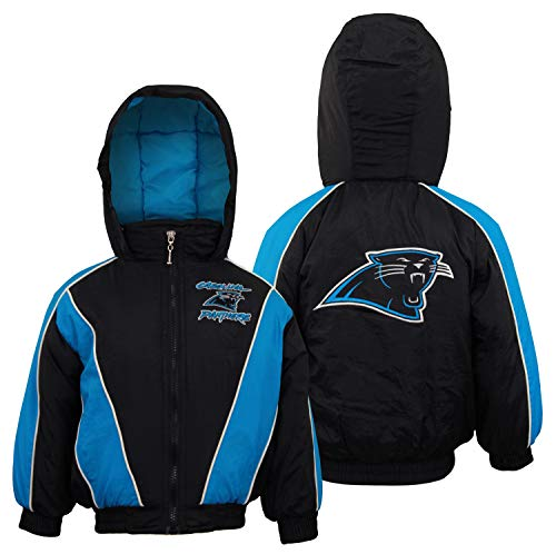 Mighty Mac Carolina Panthers NFL Little Boys Toddlers Full Zip Bomber Jacket Coat Hood, Black Blue Stripes & White Piping (3T)