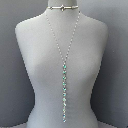Antique Silver Star Choker Necklace with Chain Dangling Abalone LL-2450 ()