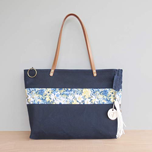 1c4adf64f801 Amazon.com  Handcrafted Zipper Waxed Canvas Tote Bag with a Blue ...