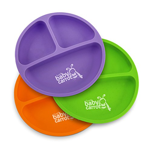 Set for Baby and Toddler | Sweet Baby Carrot | Soft, Unbreakable & 100% Safe | BPA Free | 3 Pack Set | Assorted Colors (Purple, Green, Orange) (Infant Toddler Baby Plate)