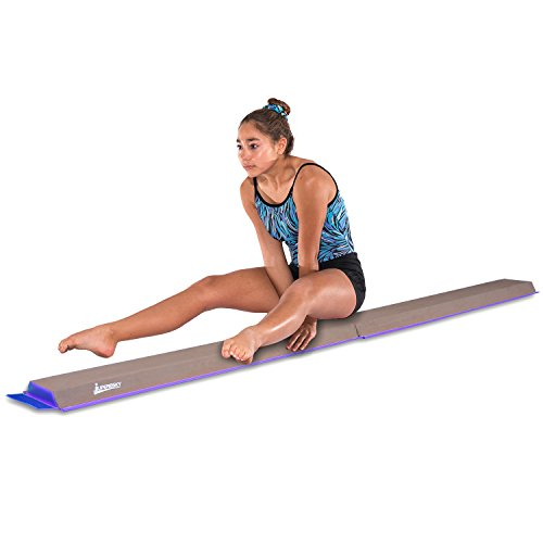 Juperbsky Gymnastics Half Folding and Joinable Suede Floor Foam Practice Balance Beam for Kids, 8 Feet, - Suede Beam Balance