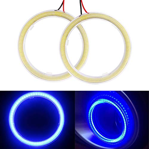 Everbrightt 1-Pair Blue 70MM 60SMD COB LED Headlight Angel Eyes Bulb Halo Ring Lamp Light with Housing (Halo Projector Headlights Blue)