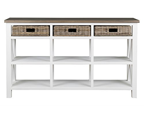 East at Main Acworth Brown Rectangular Mahogany and Rattan Sideboard, White, (56x15x33)