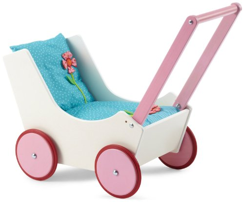 Classic Wooden Doll Pram with Bed Set with Mattress, Pillow & Blanket in Flowers Design by HABA