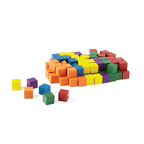 hand2mind Wooden Block Set, 1 Inch Building Blocks, Rainbow Colored, Stackable, Educational Toy for Learning Patterns & Early Math Skills (Pack of 100)