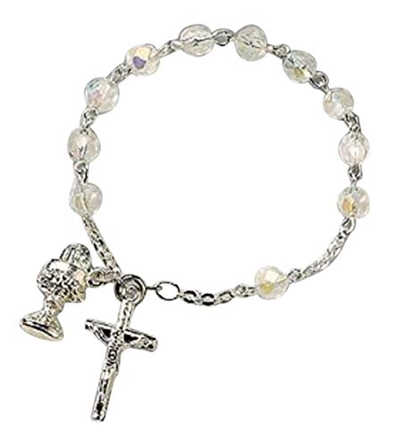 (Catholic Girls Rosary Bracelet First Communion Rosary Bracelet, Material: Glass 6 Mm Bead/Silver Plate Size: 7
