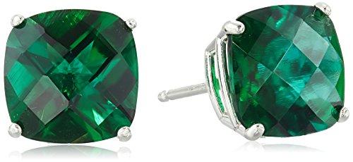 Emerald Cut Checkerboard (Sterling Silver Cushion Checkerboard Cut Created Emerald Studs (8mm))