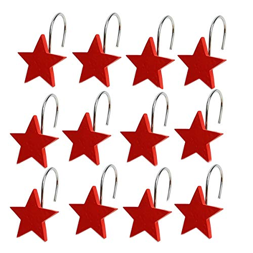 - YING CHIC YYC Set of 12 Creative Star Shower Curtain Hooks Decorative Bathroom Resin Shower Curtain Rings (Red)