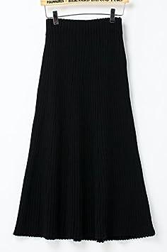 GAOLIM Invierno De Manga Larga Alta Tejer Faldas Sueltas De Mujeres Una Falda De Color Sólido, Todo El Código, Negro