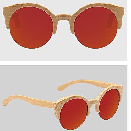 Madera Madera Gafas Bambú Polarizadas Mujer De Madera Gafas con Medias Unisex Gafas Redondas Redtablets Sol De De De ANLW UV400 Caja Retro De Gafas De pIqZZ4