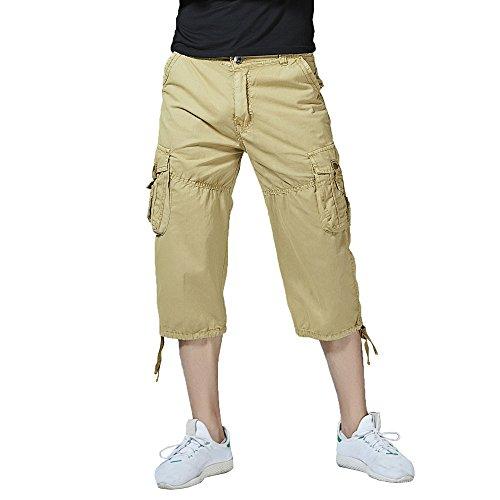 Hycsen Men's Cotton Twill Relaxed Fit Cargo (Khaki Long Shorts)
