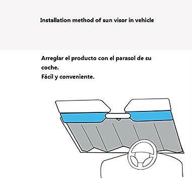 azorex Parasol Coche Delantero Plegable Protector Solar de Luna Delantera Tama/ño S//M//L con Correas El/ásticas de F/ácil Instalaci/ón M: 70x140 cm