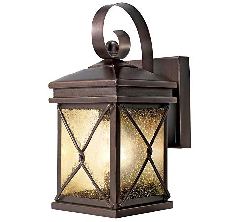 NOMA 2-Pack Outdoor Wall Lantern | Waterproof Outdoor Down-Facing Exterior Lights for Front Door, Backyard, Garage, Patio or Décor | Bronze Finish with Clear Seeded Glass Panels, 2-Pack