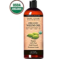 Mary Tylor Naturals Organic Neem Oil Large 16 oz, USDA Certified Organic, Cold Pressed, Unrefined, Premium Quality, 100% Pure Great for Skincare, Hair Care and Plants - Natural Bug Repellent