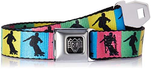 Buckle-Down Men's Seatbelt Belt Skateboard Kids, Skater Silhouette Blocks Multi Color/Black, 1.0