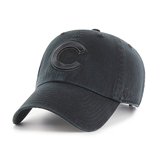 Chicago Cubs Hat MLB Authentic 47 Brand Clean Up Adjustable Strapback Black Baseball Cap Adult One Size Men & Women 100% Cotton