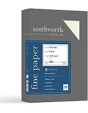 ورق أعمال Southworth مصنوع من القطن بنسبة 25%، 21.59 سم × 27.94 سم، 10.87 كجم/90 جرامًا لكل متر مربع، لمسة نهائية منسوجة، طبيعية (عاجي)، 500 ورقة - قد تختلف العبوة (404NC)