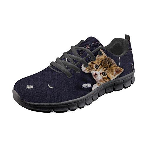 Hugs Idea Y-CC331AQ-B - Zapatillas de Running para Mujer Gato