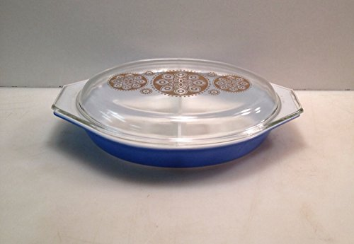 Vintage Pyrex Divided Royal Blue Promotional Gold Medallion Casserole Dish Lid