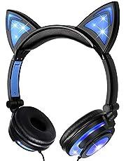 Słuchawki z kocimi uszami z diodami LED, świecące / migające, składane, wielokrotnego ładowania, przewodowe słuchawki dla dziewcząt, dzieci, kompatybilne z notebookiem PC, smartfonem, odtwarzaczem MP3 (niebieski)