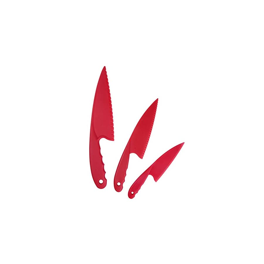 GarMills Plastic Kitchen Knife Set 3 Pieces Red for Kids, Safe Nylon Cooking Knives for Children, for Lettuce or Salads by
