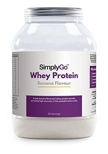 SimplyGo Proteína de suero de leche - Deliciosos sabor Fresa, chocolate, plátano o vainilla