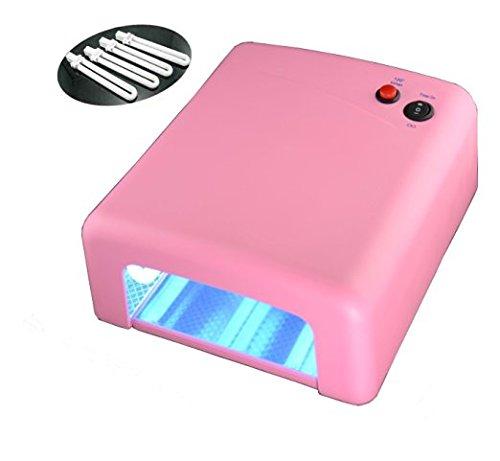 Kainuoa® 36 W UV Lampe für Nägel Nageltrockner Lichthärtungsgerät für Shellac und Gel mit 120 Sekunden Timer inkl. 4 x 9W Röhre Rosa