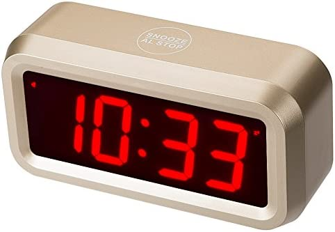 Timegyro Digital Alarm Clock Battery Operated with 1.2 Large Display for Bedroom, Heavy Sleepers Gold