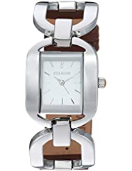 Steve Madden Womens Quartz Silver-Tone and Alloy Casual Watch, Color:Brown (Model: SMW048BR)