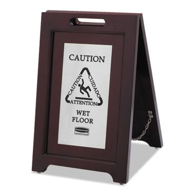 Executive 2-Sided Multi-Lingual Caution Sign, Brown/Stainless Steel,15 x 23 1/2, Sold as 1 Each